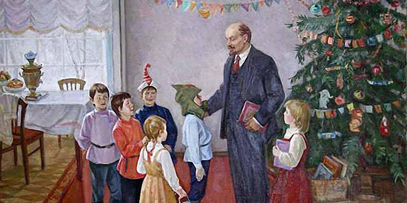 Неизвестный художник. В.И. Ленин на елке в Сокольниках. Фрагмент
