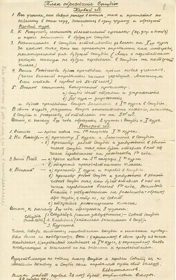 Письмо Е.Б. Вахтангова А.О. Гунсту. 1 сентября 1919 года. Главархив Москвы