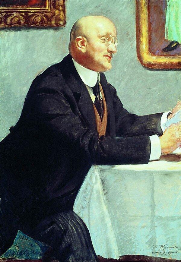 Б. Кустодиев. Портрет И. Э. Грабаря. 1916 год