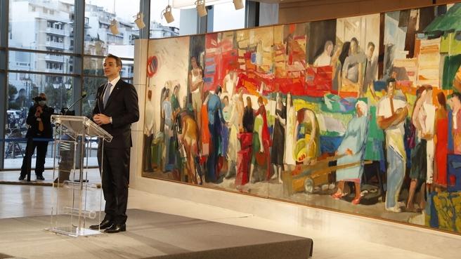 Выступление Премьер-Министра Греции Кириакоса Мицотакиса на церемонии открытия после реконструкции Национальной картинной галереи в Афинах