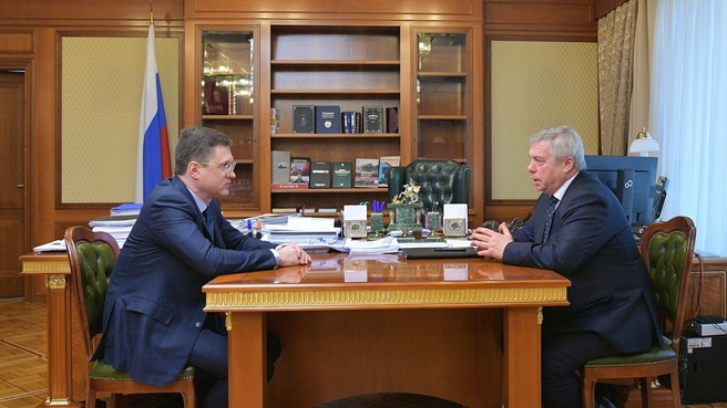 Рабочая встреча Александра Новака с губернатором Ростовской области Василием Голубевым