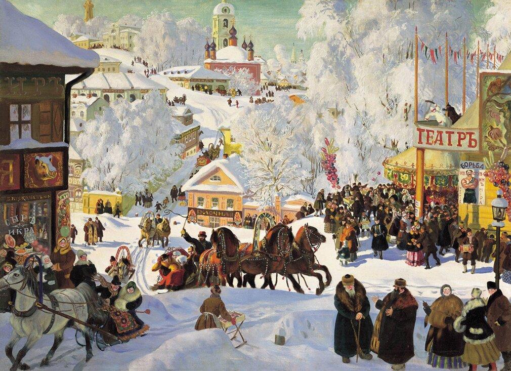 Б. Кустодиев. Масленица. 1919 год