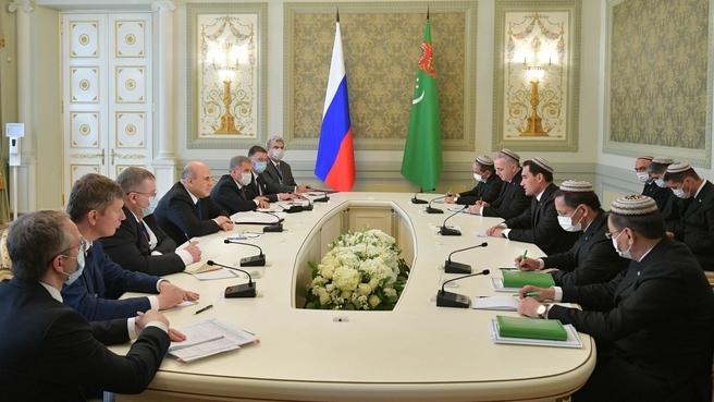 Беседа Михаила Мишустина с Заместителем Председателя Кабинета министров Туркменистана, председателем Высшей контрольной палаты Туркменистана Сердаром Бердымухамедовым