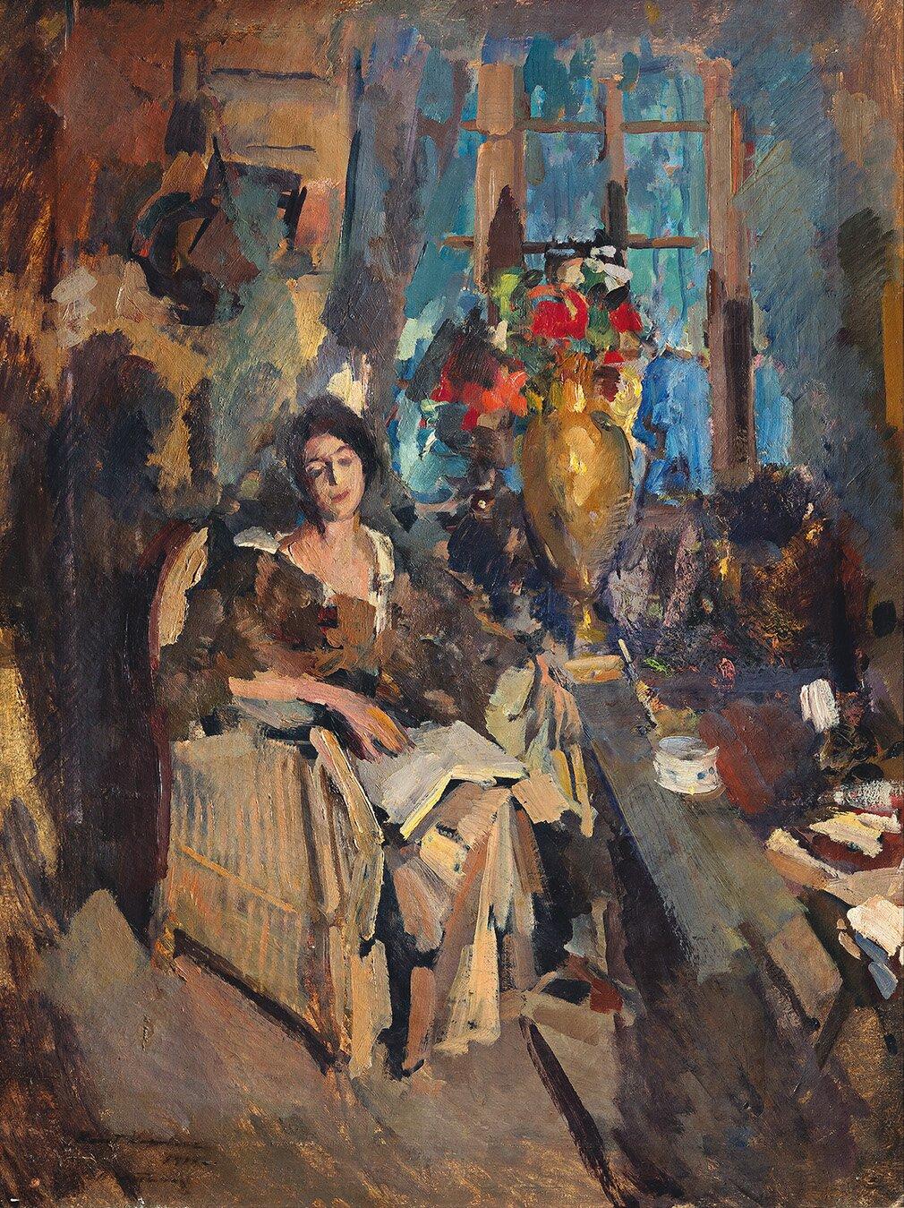 К. Коровин. Женский портрет (Портрет Н.Н. Вышеславцевой (?)). 1912 год. Собрание А.Я. Абрамяна (ныне — в частном собрании)