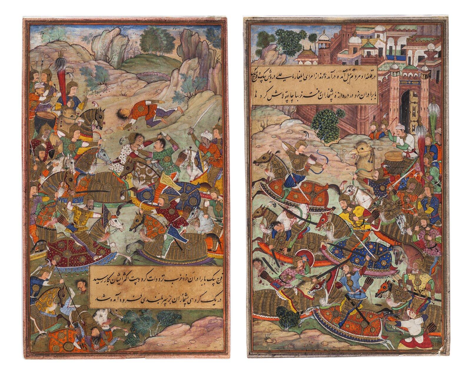 Миниатюра «Сражение конницы Бабура с отрядами Танбала» (левая и правая часть диптиха) из рукописи «Бабур-наме». Северная Индия. XVI век