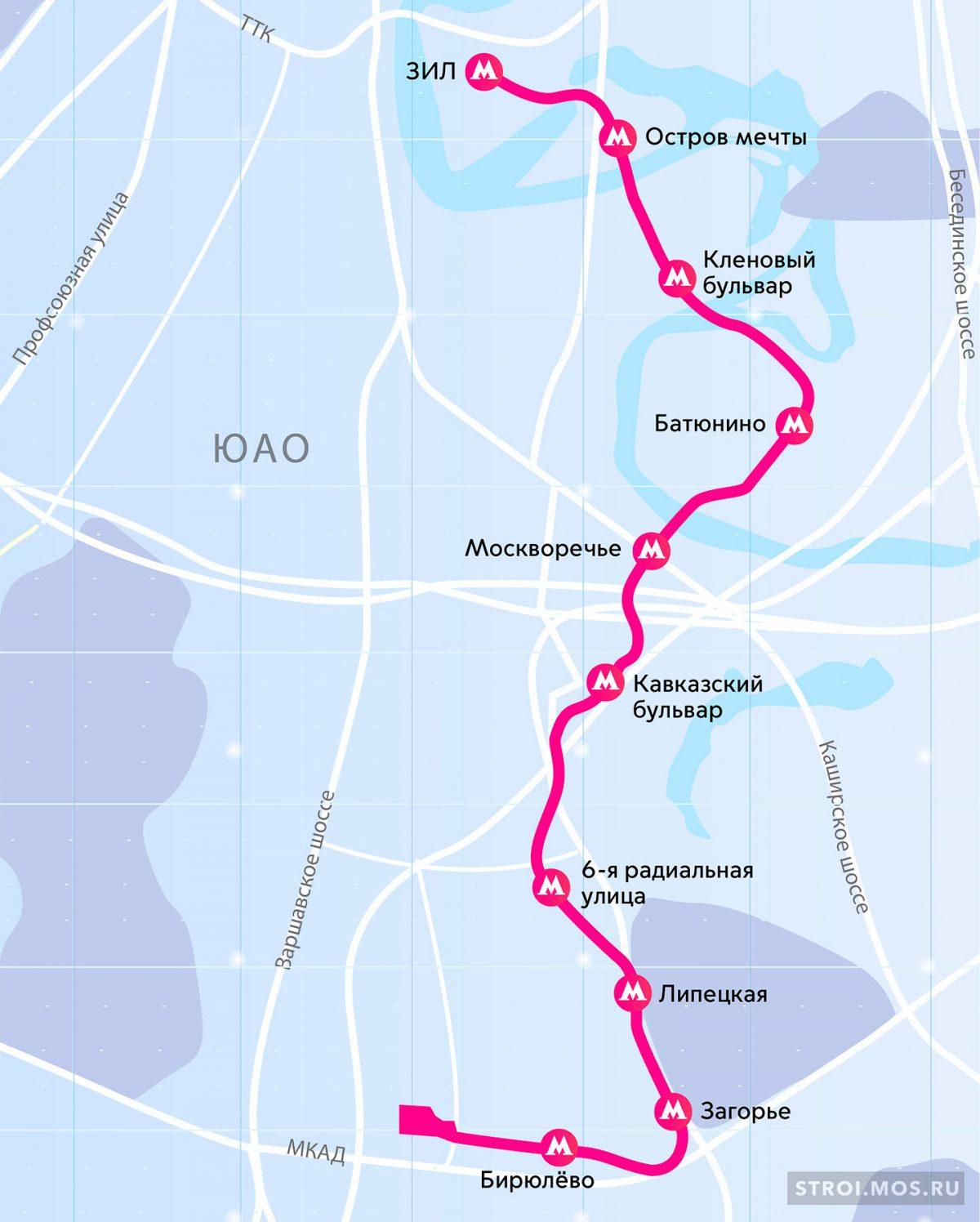 Бирюлёвской линия метро на карте