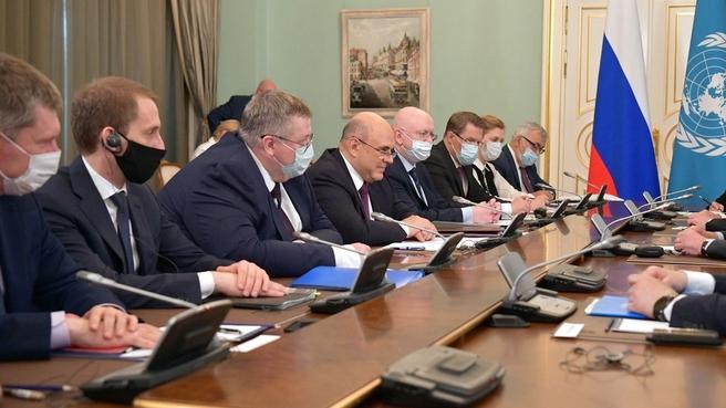 Беседа Михаила Мишустина с Генеральным секретарем ООН Антониу Гутеррешем