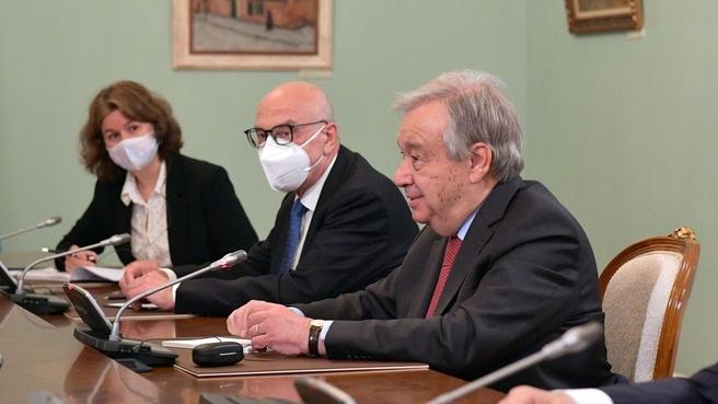 Генеральный секретарь ООН Антониу Гутерреш во время беседы с Михаилом Мишустиным