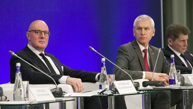 Дмитрий Чернышенко и Олег Матыцин на заседании коллегии Министерства спорта России, посвящённом итогам деятельности Минспорта в 2020 году и задачах на 2021 год