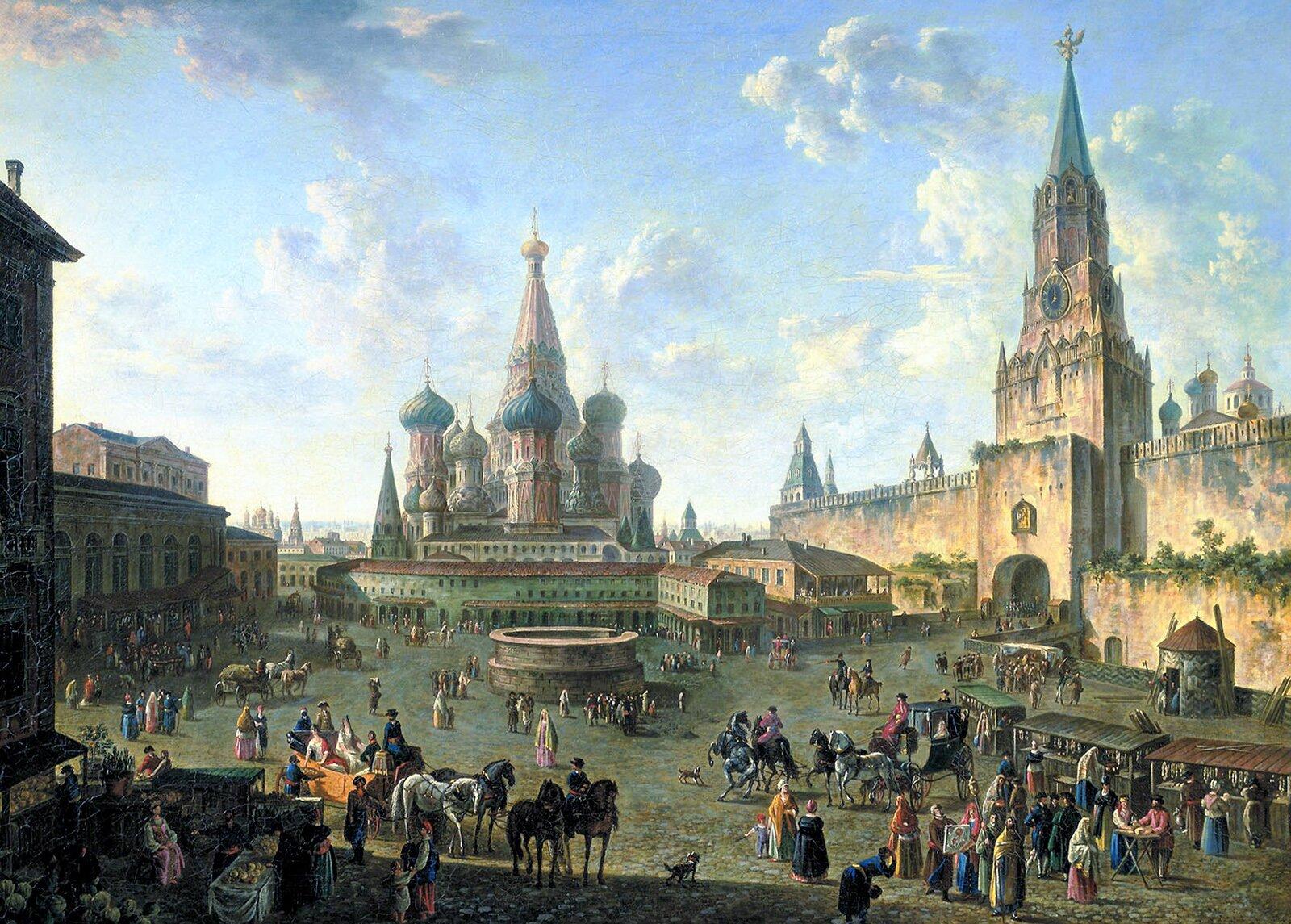 Ф. Алексеев. Красная площадь в Москве. 1801 год