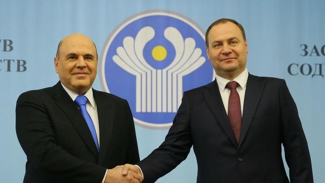 Михаил Мишустин с Премьер-министром Республики Беларусь Романом Головченко