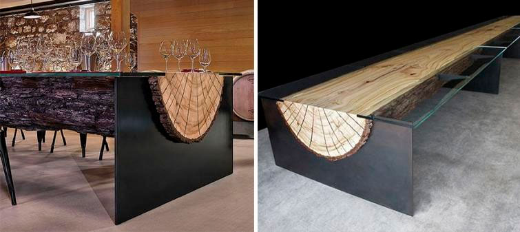 Стол из распиленного бревна