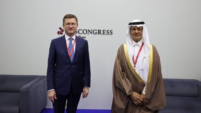 Встреча Александра Новака с Министром энергетики и природных ресурсов Саудовской Аравии Абдель Азизом бен Сальманом