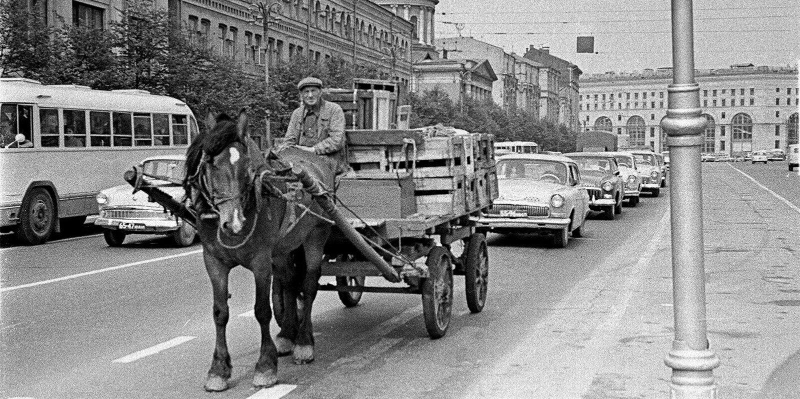 Последний конный транспорт на Новой площади. Фото Г. Корабельникова. 1979 год. Главархив Москвы