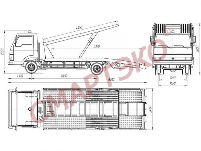 Купить эвакуатор-автовоз двухуровневый Шасси TATA LPT-613