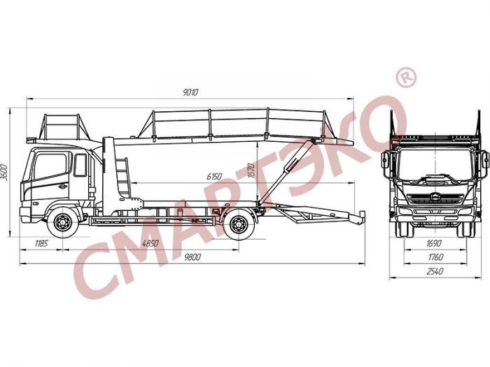 Эвакуатор-автовоз двухуровневый Шасси HINO-500
