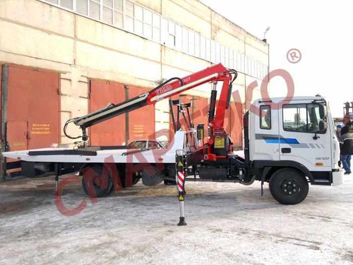 Эвакуатор со сдвижной платформой с крано-манипуляторной установкой FASSI Шасси Hyundai HD-120 Extra Long