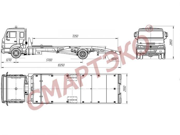Эвакуатор с ломаной платформой КАМАЗ-43085