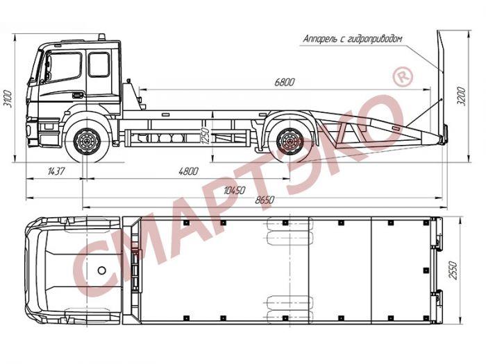 Эвакуатор с ломаной платформой Mersedes-Benz Axor 1824L
