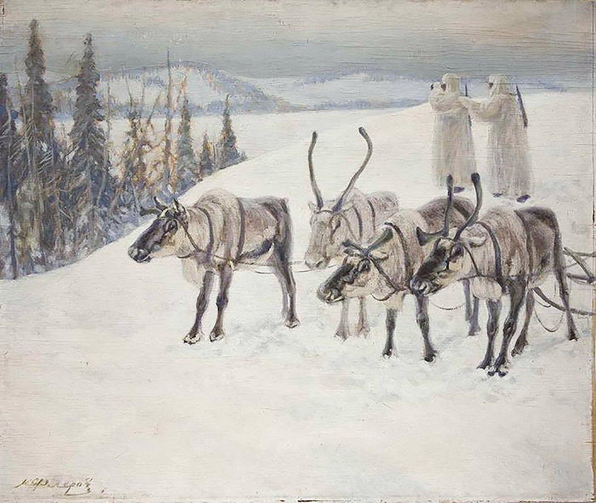 К.Флеров. Северные олени на мурманском фронте. 1942 год