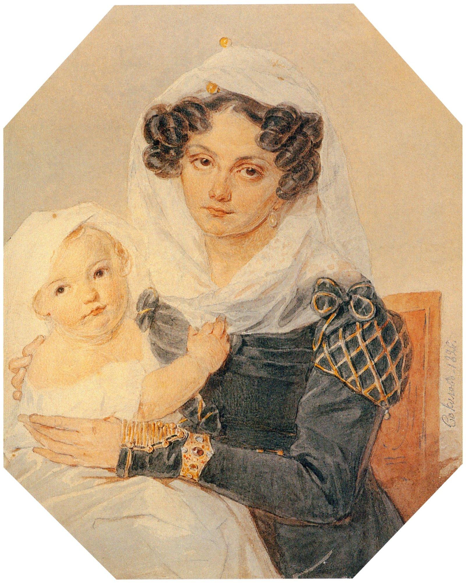 П.Ф. Соколов. Портрет княгини М.Н. Волконской с сыном Николаем. 1826 год
