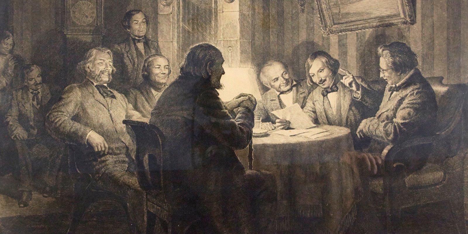 """Офорт с картины В. Маковского «Гоголь читает """"Ревизора"""" 5 ноября 1851 года»"""
