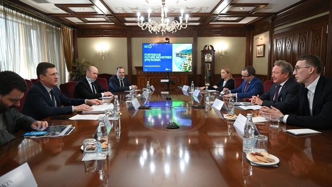 Встреча Александра Новака с председателем совета директоров австралийской компании Fortescue Metals Group Эндрю Форрестом