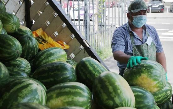 В Москве на развалах продают арбузы и дыни