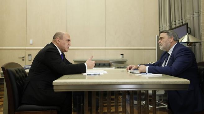 Михаил Мишустин встретился с Игорем Артемьевым